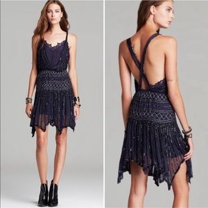 FREE PEOPLE Ode to Tea Sapphire Shimmer Dress